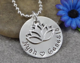 Hand Stamped Jewelry - Personalized Jewelry - Mother Necklace - Sterling Silver Necklace - Two or three names - Lotus Charm