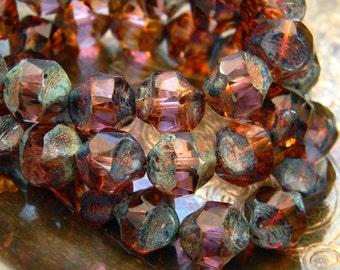 Tanzanite Pebbles (10) -Czech Glass Central Cut Rounds 9mm