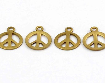 Small Brass Peace Sign Charms (16X) (M602)