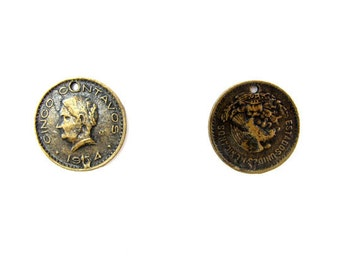 LOW Stock - Vintage Antiqued Brass Plated Pewter Mexican Coin Charms (4X) (V166)