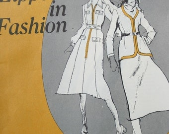 Sewing Instructions Zippers in Fashion Lightning Educational Service Vintage Paper Original NOT a PDF
