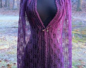 Lilac Lace Scarf,  dressy or casual, merino and silk