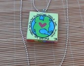 Love the Earth Small Painted Canvas Necklace