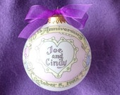 30TH ANNIVERSARY Custom Keepsake Ornament Original Handpainted Personalized Ornament, with free display stand