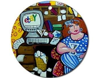 Diva Online Addict Folk Art Fun Whimsical Colorful Round Porcelain Ornament