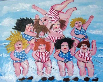 Wild Water Skiing Divas Colorful Humor Fun Whimsical Friends Folk Art