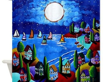 Blue Night Sail Moon Sailboats Folk Art Whimsical Colorful Bathroom Shower Curtain