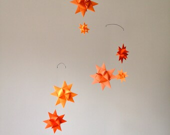 Baby Crib Mobile Origami Paper Stars -'Carina' Orange