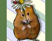 Instant Printable Card or eCard, HAMSTER with Big Daisy, Ladybugs, Just For You, Flowers, Original Art, You Print
