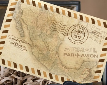 Vintage Air Mail Postcard Save the Date - 5 x 7 Postcard (Design Fee)