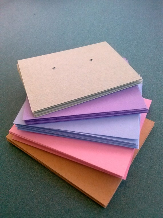 30 Earring cards, Pastel Colors, post earring cards