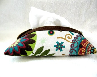 Floral Pocket Tissue Holder Cream Brown Flowers Tissue Cozy