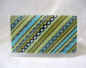 Business Card Holder Stripes Vinyl Mini Wallet Celery Brown Blue