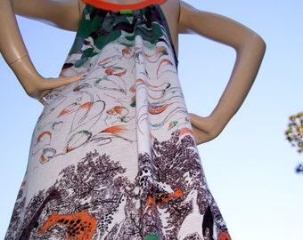 Giraffe Sundress Leaves Orange Green Brown Jungle Print Hippie Giraffe Geek Tunic Dress Adult M L