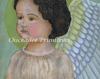 Primitive Folk Art Angel Portrait