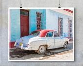 Vintage car art old American auto Trinidad Cuba retro car home decor gift for him dad boyfriend fine art photo travel photography big print
