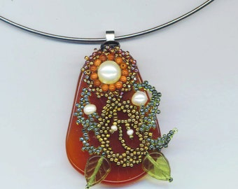 Carnelian Pendant . Beaded Pearl .Goldstone Flower . Caramel Honey . Silver Plated choker - The Spirit of a Flower by enchantedbeads on Etsy