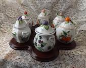 Vintage Lenox Jam Jars, Set of 6, Circa 1991, Collector Set, Jam Jars, Lenox Porcelain, NEW LOWER PRICE