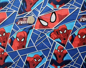 Ultimate Spiderman Shards Blue Fabric - Half Yard