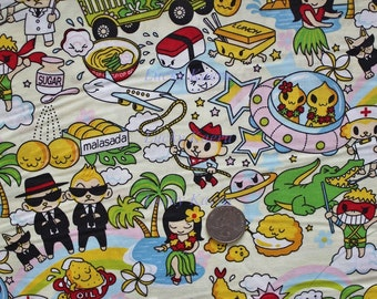Kawaii Anime Hawaii Favorites Cream Fabric - Half Yard