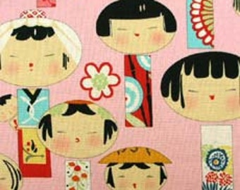 Yui Kokeshi Doll OOP Fabric on Pink - REMNANT Size 27 Inches by 44 Inches