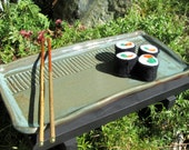 CLEARANCE Sushi Serving Tray with Bamboo Chopsticks in Army Green