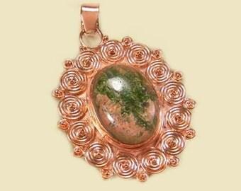 Sale: Unakite and Copper Pendant