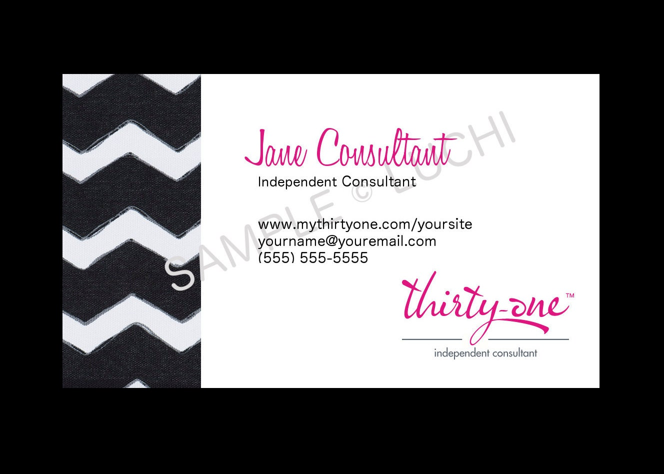 Thirty e Business Card Black Chevron by luchi on Etsy
