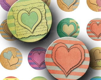 INSTANT DOWNLOAD Paper Hearts Digital Images Collage Sheet Love Stripes One 1 Inch Circles for Pendants Tags Magnets Scrapbooking (C169)