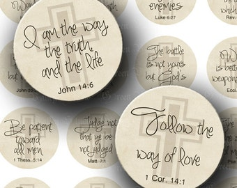 INSTANT DOWNLOAD Digital Images Sheets Inspirational Bible Quotes God Biblical Quotations 1.25 Inch Circles for Crafts Magnets Tags (CS1)