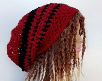 Red black Hemp Wool Hippie Tam Hat Slouchy Snood Beanie mandala crown