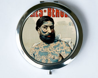 Compact MIRROR Pocket Mirror  tattooed man sideshow performers freaks