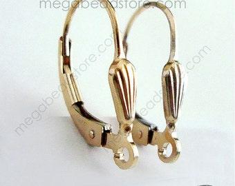 4 pcs Sea Shell 14K Gold Filled Ear Wire GF Lever back Earring F370GF