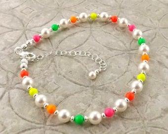 Electric Neon multicolor Swarovski pearl adjustable anklet ankle bracelet
