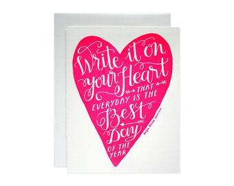 Heart Screen Printed Card