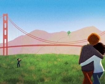 "SF Wedding, Golden Gate Bridge, San Francisco Artwork, blank greeting card - ""Crissy Field"""