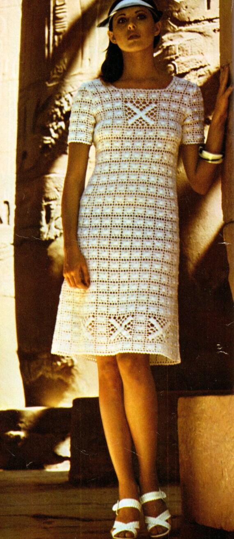 1970s Crochet Dress In Cotton Ladies Vintage Crochet Pattern