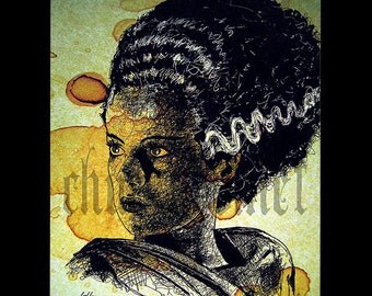 "Print 11x14"" - The Bride - Portrait Frankenstein Dracula Classic Monster Horror Halloween Pop Lowbrow Coffee Vintage Dark Art Gothic"