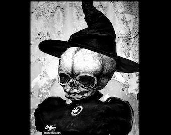 "Print 8x10"" - Witch - Dark Art Skull Skeleton Fetal Halloween Haunted Witchcraft Wicaan Gothic Victorian Cute Horror Cute Ghost Spell Pop"