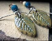 Ceramic leaf earrings, Rustic forged copper hoops Indonesian glass Antiqued bone - Forage
