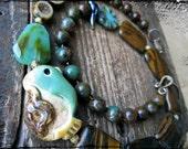 Easter chick necklace, Ceramic pendant Peruvian opal Raw brass Tigereye Czech glass  - Easter Basket