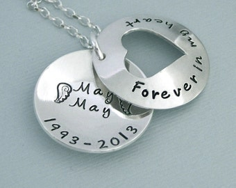 Personalized Open Heart Locket Style Necklace - Hand Stamped Sterling Silver