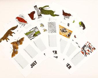 Perpetual Wall Calendar, seasonal animals, hand carved block prints, hand printed