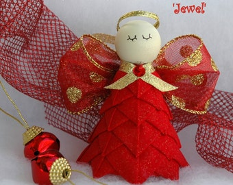 No Sew Quilted Angel Ornament Kit and Instructions - Jewel