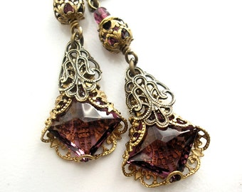 Purple Passion Earrings - Filigree Wrapped Amethyst Glass