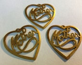 Six - 6 - Solid Brass Domed Heart Metal Blanks - Charms - Pendants - Jewelry Making - Mixed Media - Altered Art - Scrapbooking