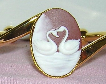 SWAN bangle CAMEO Bracelet Gold plate setting brown cameo