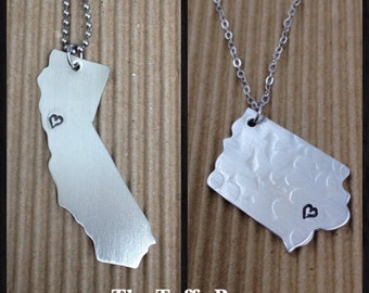Hand Stamped - Choose YOUR State Necklace - Customizeable
