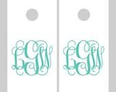 Cornhole Decals - Monogram Cornhole Decals - Wedding Cornhole Decals - Corn hole Decals - Personalized Cornhole Decals - wd1041
