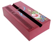 Tole Painted Tissue Box - Bright Burgundy Rose